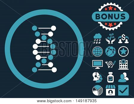 DNA Spiral icon with bonus pictures. Vector illustration style is flat iconic bicolor symbols blue and white colors dark blue background.