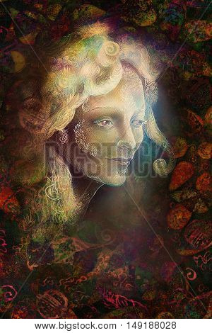 fairytale fairy woman face on abstract background with ornaments.