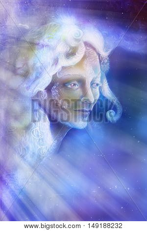 beautiful angel fairy spirit in rays of light, illustration.