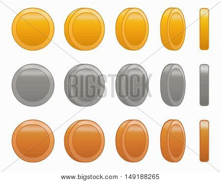 game coin animation set vector illustration. Made with love