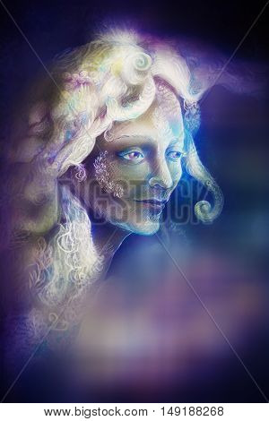 beautiful angel fairy spirit in rays of purple light, illustration.