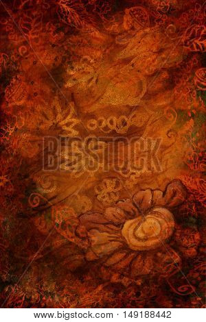 luxury gold brown background with abstract flowers. vertical.