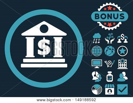 Dollar Bank icon with bonus symbols. Vector illustration style is flat iconic bicolor symbols blue and white colors dark blue background.