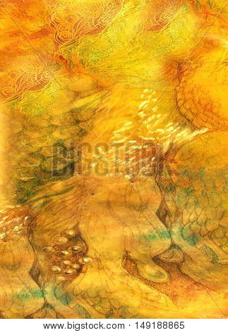 decorative background with different structures in yellow and orange tones.