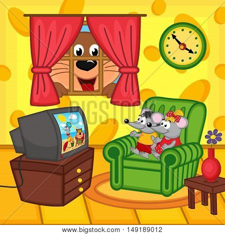 mouse watching television at home cat peeping through window - vector illustration, eps