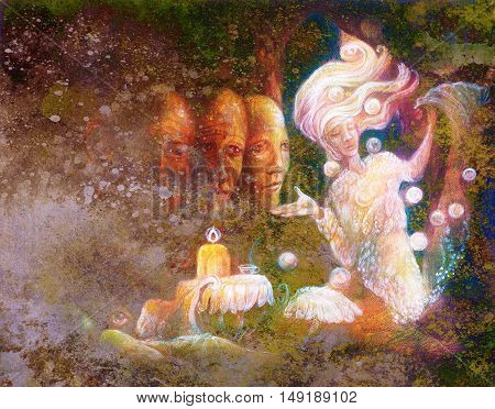 magical radiant fairy spirit in forest dwelling with sacred tree.