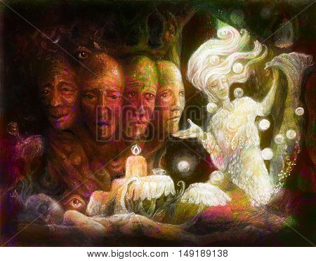 Spiritual sacred tree of four faces, fantasy colorful painting collage.