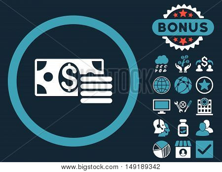 Dollar Cash icon with bonus elements. Vector illustration style is flat iconic bicolor symbols blue and white colors dark blue background.