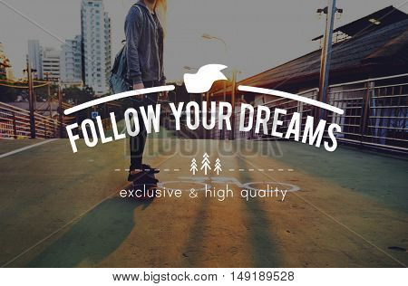 Youth Journey Young Words Carefree Skateboard Graphic Concept