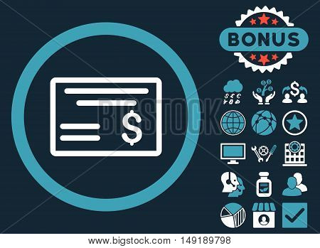 Dollar Cheque icon with bonus pictogram. Vector illustration style is flat iconic bicolor symbols blue and white colors dark blue background.