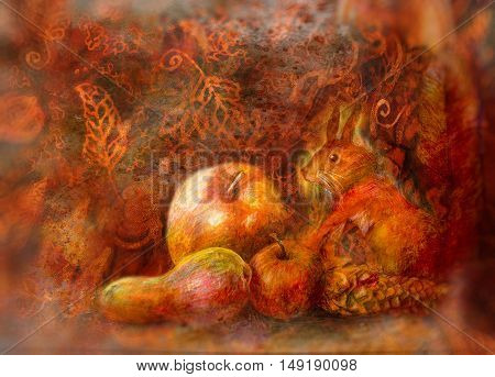 fairy tale still life with squirrel and autumn fruits on abstract background.