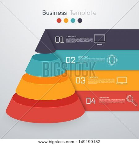 Vector illustration infographics four options pyramid. Stock vector