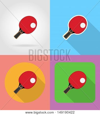 racket and ball for table tennis ping pong flat icons vector illustration isolated on background