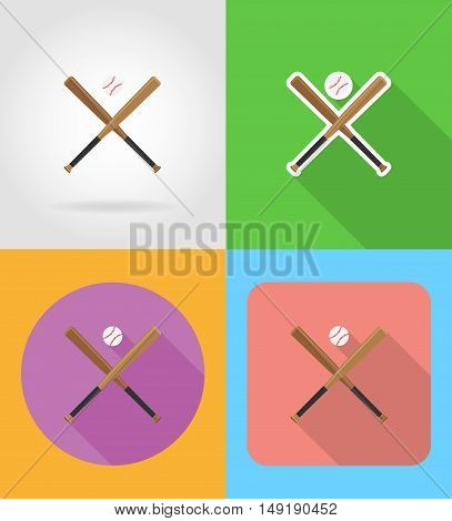 baseball ball and bit flat icons vector illustration isolated on background