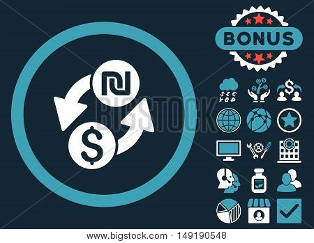 Dollar Shekel Exchange icon with bonus symbols. Vector illustration style is flat iconic bicolor symbols blue and white colors dark blue background.