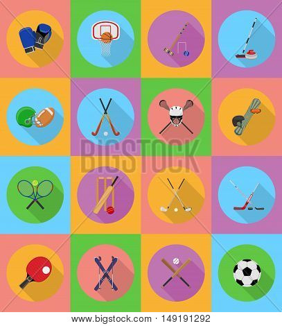 sport equipment flat icons illustration isolated on background