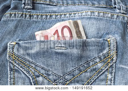 Pocket Money In Blue Jeans - Ten Euro Note