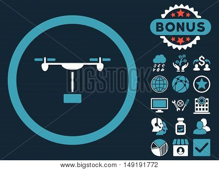 Drone Shipment icon with bonus design elements. Vector illustration style is flat iconic bicolor symbols blue and white colors dark blue background.