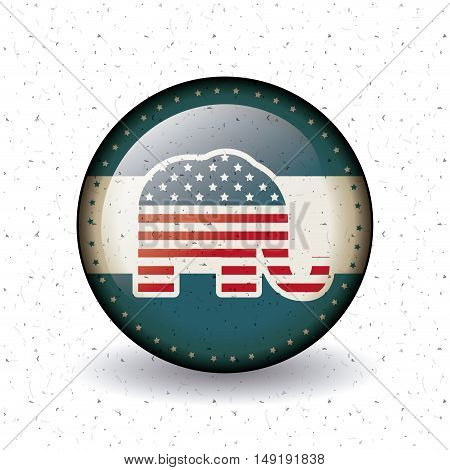 Elephant inside button icon. Vote election nation and government theme. Colorful design. Vector illustration
