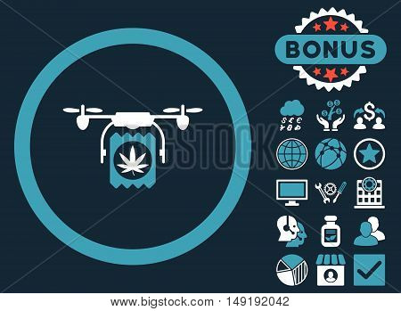 Drugs Drone Delivery icon with bonus images. Vector illustration style is flat iconic bicolor symbols blue and white colors dark blue background.