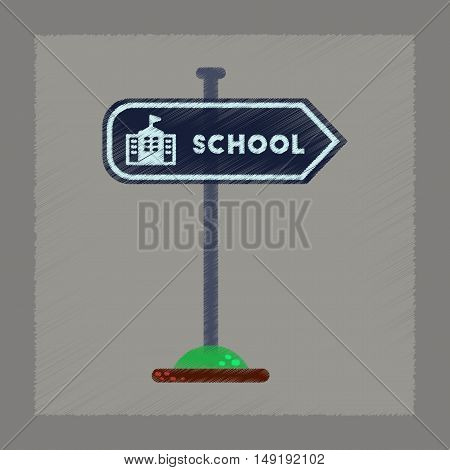 flat shading style icon of school sign