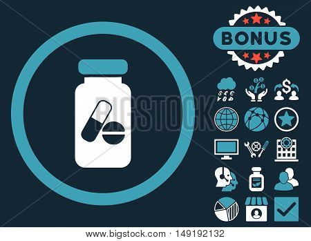 Drugs Phial icon with bonus pictogram. Vector illustration style is flat iconic bicolor symbols blue and white colors dark blue background.