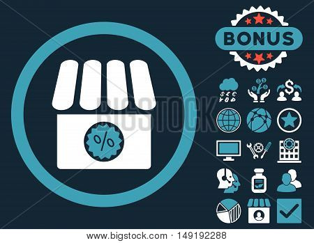 Drugstore Sale icon with bonus images. Vector illustration style is flat iconic bicolor symbols blue and white colors dark blue background.