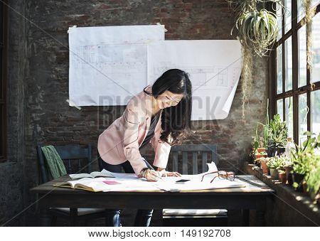 Businesswoman Casual Creative Home Office Ideas Concept