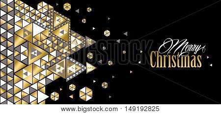 Merry Christmas Geometric Design In Gold Color