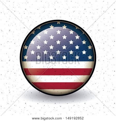 Usa flag inside button icon. Vote election nation and government theme. Colorful design. Vector illustration