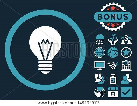 Electric Bulb icon with bonus design elements. Vector illustration style is flat iconic bicolor symbols blue and white colors dark blue background.