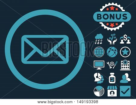 Envelope icon with bonus design elements. Vector illustration style is flat iconic bicolor symbols blue and white colors dark blue background.