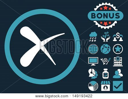 Erase icon with bonus images. Vector illustration style is flat iconic bicolor symbols blue and white colors dark blue background.