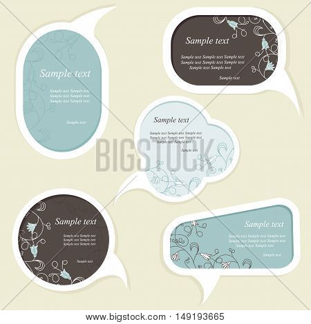 Speech bubbles set with floral elements. Vector illustration