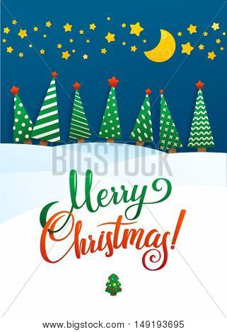 Christmas Greeting Card. Merry Christmas lettering, vector illustration. Volume toys, Christmas trees and snowdrifts. Christmas decorations, greeting illustration