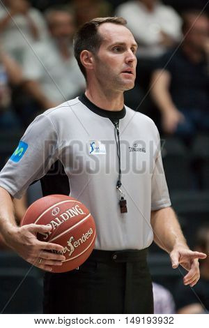 VALENCIA, SPAIN - SEPTEMBER 25th: Referee during match between Valencia Basket and Estudiantes at Fonteta Stadium on September 25, 2016 in Valencia, Spain