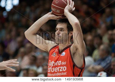 VALENCIA, SPAIN - SEPTEMBER 25th: San Emeterio during match between Valencia Basket and Estudiantes at Fonteta Stadium on September 25, 2016 in Valencia, Spain