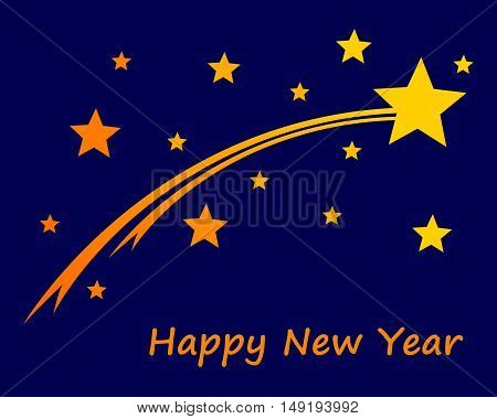Happy New Year On Blue Sky