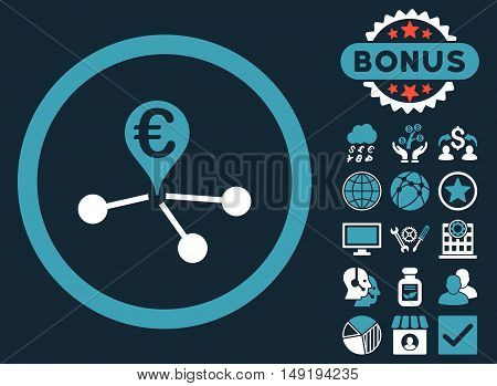 Euro Bank Branches icon with bonus pictogram. Vector illustration style is flat iconic bicolor symbols blue and white colors dark blue background.