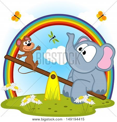 elephant and mouse riding on seesaw - vector illustration, eps