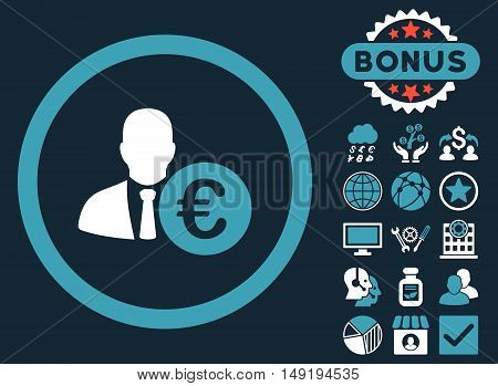 Euro Banker icon with bonus pictures. Vector illustration style is flat iconic bicolor symbols blue and white colors dark blue background.