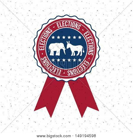 Donkey and elephant inside button icon. Vote election nation and government theme. Colorful design. Vector illustration