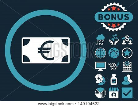 Euro Banknote icon with bonus pictogram. Vector illustration style is flat iconic bicolor symbols blue and white colors dark blue background.