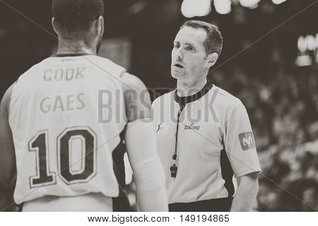 VALENCIA, SPAIN - SEPTEMBER 25th: (L) Cook and Referee during match between Valencia Basket and Estudiantes at Fonteta Stadium on September 25, 2016 in Valencia, Spain