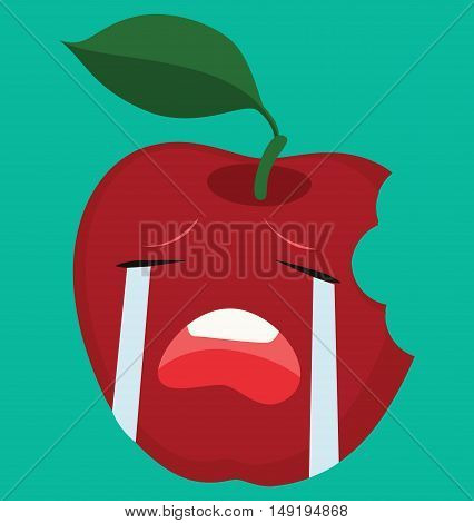 Crying Red Apple Vector Illustration- Food Cartoon Vector - Fruit Cartoon - Red Apple Crying -