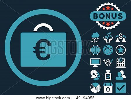 Euro Bookkeeping Case icon with bonus images. Vector illustration style is flat iconic bicolor symbols blue and white colors dark blue background.