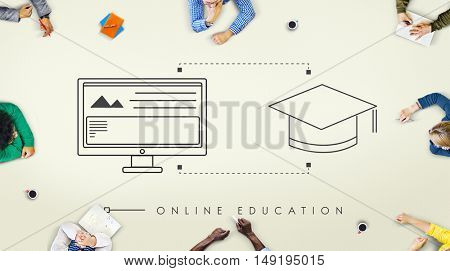Online Education Technology Student Graphic Concept