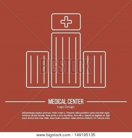 Hospital building with medical cross sign. Single logo in modern thin line style isolated on brown background. Outline medical symbol. Simple mono linear pictogram. Stroke vector logotype template.