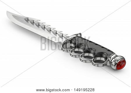 Knife antique poniard model with ornate gothic hilt. 3D graphic