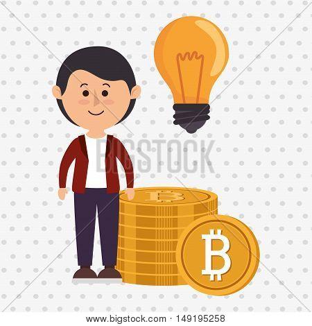 man bit coin idea vector illustration eps 10